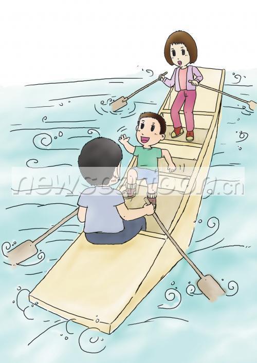 划船 卡通图片