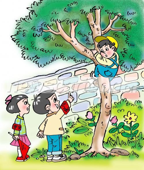 小孩爬树卡通