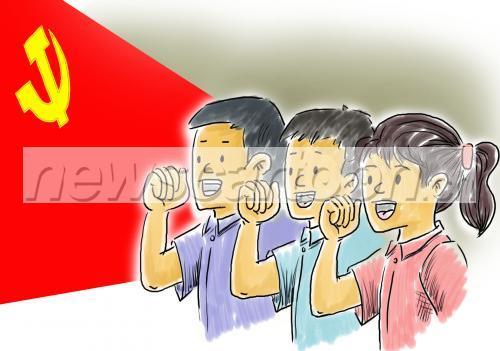 标题: 宣誓; 宣誓手势素材; 卡通交警手势图解;