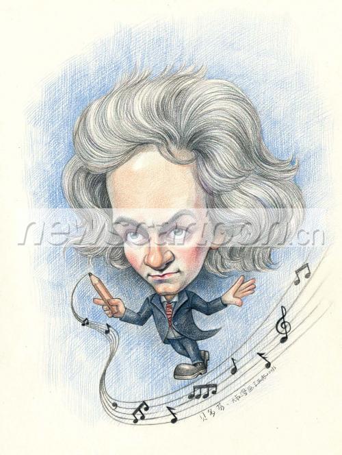 贝多芬 肖像漫画 王西振作品