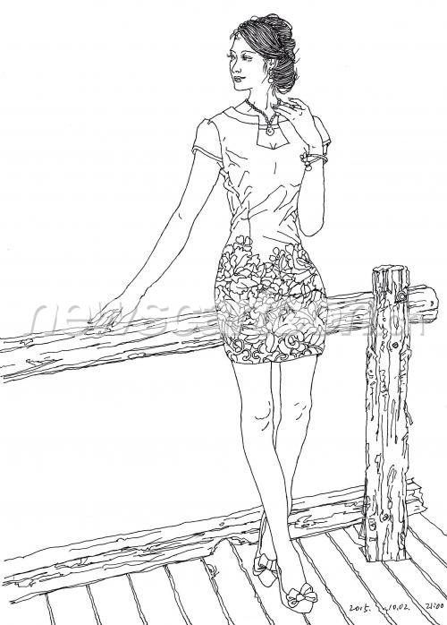 旗袍手绘简单图画