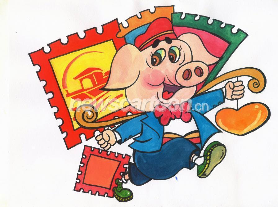 说明:                               水粉手绘画猪迎接2019年猪年的