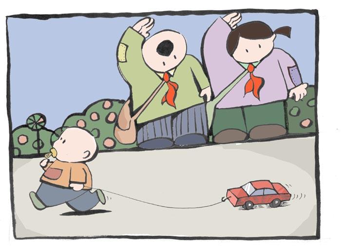 标签:插画礼节小学生儿童敬礼卡通少儿孩子男孩女孩