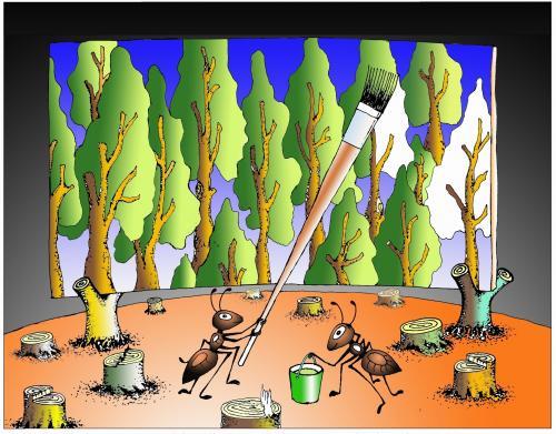 非常怀念昨日的森林,于是挥臂涂鸦,一片森林跃然纸上.