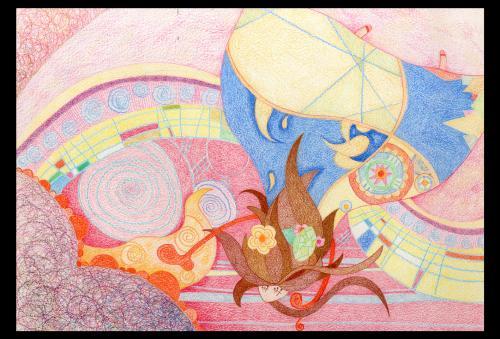 插画的内容是一个叫《花手帕》的环保的童话故事,一套共六幅,彩铅